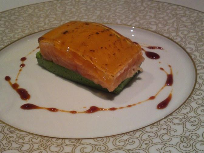 Recette Avec Produits de Shizuoka par Dominique Corby au Cordon Bleu Japan Co. Tokyo 2: Amago cuit à Basse Température, Crémeux de Légumes de Shizuoka, Gelée Épaisse de Dashi au Shoyou
